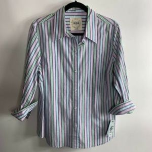 IZOD 3/4 Sleeve Button Front Striped Blouse